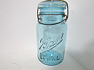 Vintage Ball Aqua Ideal Wire Bail Fruit Jar Quart
