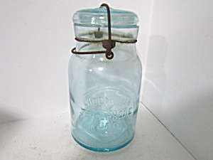 Vintage The Telephone Aqua Wire Bail Quart Fruit Jar