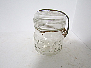 Vintage Atlas E-z Seal Wire Bail Half-pint Fruit Jar