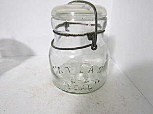 Vintage Atlas E-z Seal Wire Bail Pint Fruit Jar