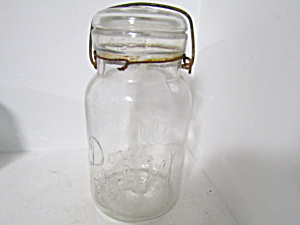 Vintage Double Safety Wire Bail Quart Fruit Jar