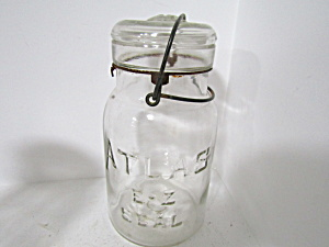 Vintage Atlas E-z Seal Wire Bail Quart Fruit Jar
