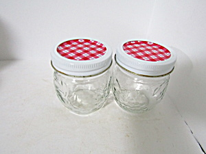 Vintage Anchor Hocking Fruit Pattern Jelly Jars