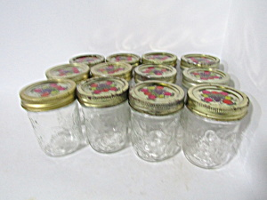 Vintage Anchor Hocking Fruit Pattern Jam Jars