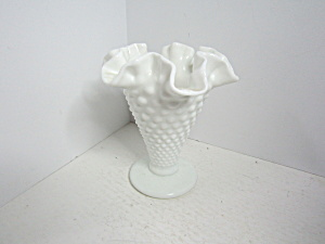 Vintage Fenton Hobnail Milk Glass Footed Vase