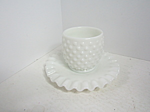 Fenton Hobnail Milk Glass Open Jam Jar & Underplate