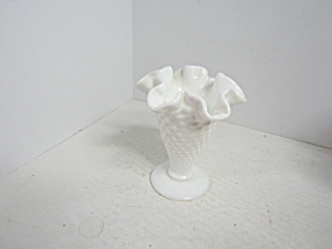 Vintage Fenton Hobnail Miniature Milk Glass Footed Vase