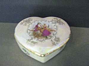 Vintage Heart Shaped Colonial Couple Trinket Box