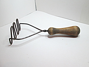 Vintage Wooden Handled Rustic Potato Masher