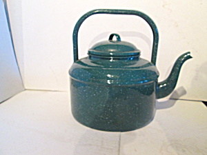 Vintage Metal Ware Green Speckled Tea Kettle