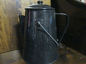 Vintage Graniteware Black Speckled Coffee Pot
