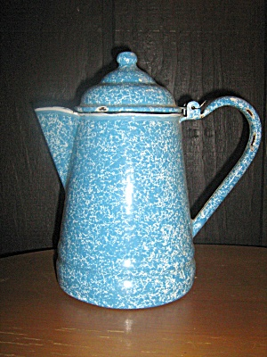 Vintage Graniteware Light Blue Swirl Coffee Pot