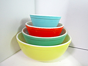 Vintage Pyrex Primary Color Stacking Bowl Set