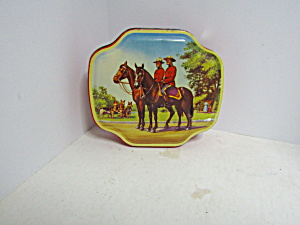 Vintage Royal Mounties On Horseback Covered Toffee Tin