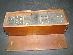 Vintage Wooden Dominos With Wooden Box