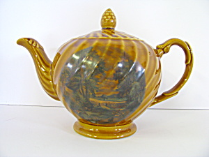 Vintage Ellgreave England Tan Country Scene Teapot
