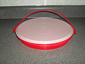 Vintage Tupperware Red 3 Piece Divided Tray Server