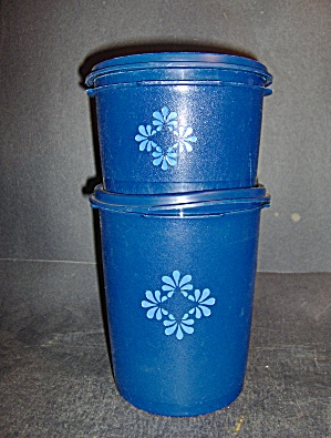 Vintage Tupperware Set Of 2 Blue Canisters