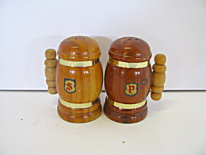 Vintage Wooden Mugs Salt & Pepper Shaker Set