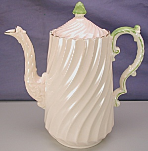 Aynsley Pink Swirl Fluted Coffee Pot