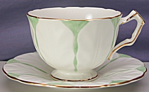 Aynsley Tulip Shape Green Tint Cup & Saucer