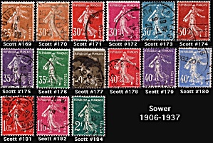 Sower Issue Of 1906-1937 Sc#169-184
