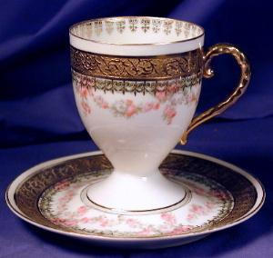 Royal Bayreuth White With Gilt Cup & Saucer 5