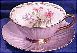 Shelley Mauve 'footed Oleander' Cup & Saucer.