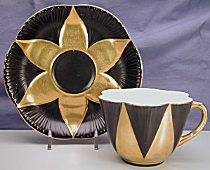Shelley Dainty Cup & Saucer In Black & Gold