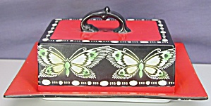 Shelley Butterfly Covered Deco Butter Dish