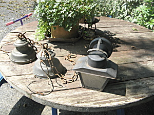 Set Of 2 Vintage Brass Outdoor Lights And 1 Blk Metal