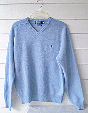 Polo V-neck Sweater Vintage Ralph Lauren Blue Lambs Wool