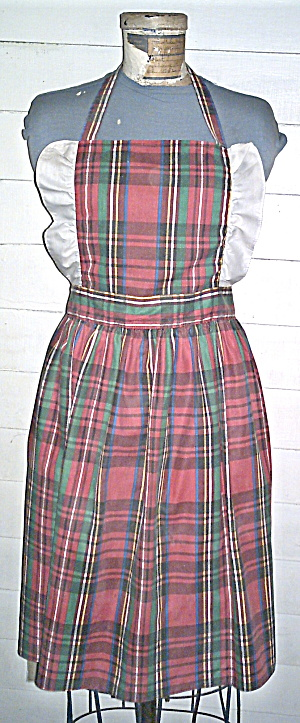 Cotton Apron Plaid-hey Lucy Vintage 1950s