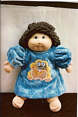 Cabbage Patch Doll Dress - Aqua Cut Velvet