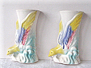Wall Vases Vintage 1949 Stylized Bird