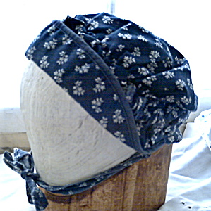 Amish Mennonite Navy Cotton Bonnet Vintage