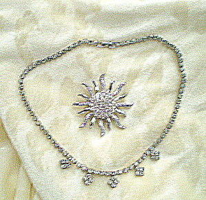 Vintage 1950s Rhinestone Necklace And Brooch