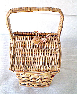 Vintage Straw Sewing Basket