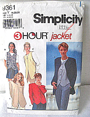 Simplicity 1996 3 Hour Jacket Pattern