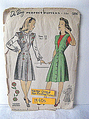 Wwii Blouse And Jumper Pattern W/ Embroiderytransfer