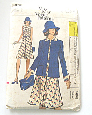 Vogue Dress And Jacket 1972 Vintage Pattern