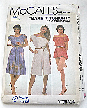 Vintage Mccall Ladies Dress And Jumpsuit Pattern