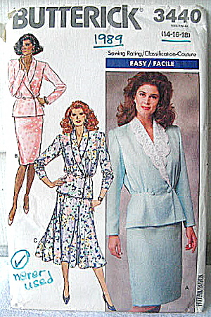 Vintage Butterick Ladies 2 Pc Suit With 2 Skirt Styles