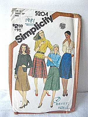 Simplicity 1981 Skirt Pattern Of 4 Styles