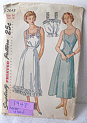 Vintage 1948 Simplicity Slip,petticoat, Camisole Pattern