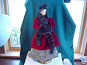 Ice Skating Doll In Velvet And Faux Fur