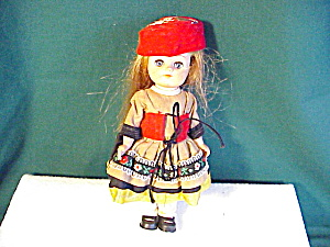 "Adorable 7 1/2"" Vinyl Doll Ethnic Costume"