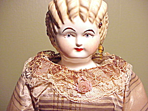 Antique China Head Doll/blonde/silk Dress