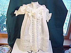 Antique Batiste And Lace Doll Dress/intricate