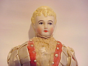 Antique German Blond China Head Doll Silk Dre
